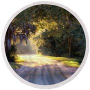 Light, Shadows And An Old Dirt Road Round Beach Towel