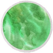 Light Through Green Marble Abstract Watercolor Round Beach Towel