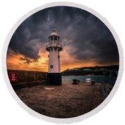 Lighthouse Dramatic Sky Round Beach Towel