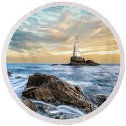 Lighthouse In Ahtopol, Bulgaria Round Beach Towel