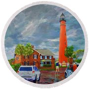Lightning And The Light Round Beach Towel