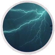 Lightning Grid Round Beach Towel