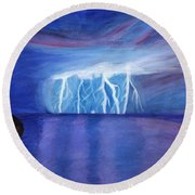 Lightning On The Sea At Night Round Beach Towel