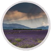 Lightning Over Lavender Field Round Beach Towel