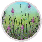 Lilacs And Bluebells Round Beach Towel