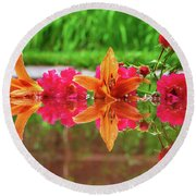 Lilies And Roses Reflection Round Beach Towel