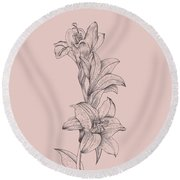 Lily Blush Pink  Flower Round Beach Towel