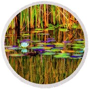Lilypond Reflections Round Beach Towel