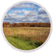 Line Of Autumnal Grace Round Beach Towel