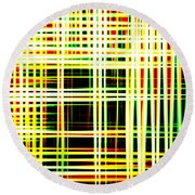 Lines And Squares In Color Waves - Plb418 Round Beach Towel