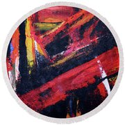 Lines Of Fire Round Beach Towel