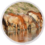 Lineup At The Pond-- Wild Horses Round Beach Towel