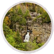 Linville Falls - Wide View Round Beach Towel