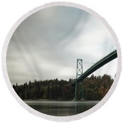 Lions Gate Bridge Vancouver Round Beach Towel