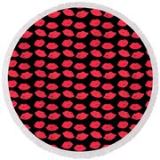 Round Beach Towel featuring the digital art Lips by Bee-Bee Deigner