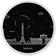Lisbon Skyline Travel Poster Round Beach Towel