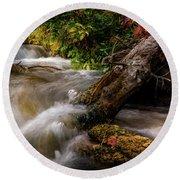 Round Beach Towel featuring the photograph Little Deer Creek Autumn by TL Mair