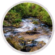 Round Beach Towel featuring the photograph Little Deer Creek by TL Mair