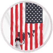 Little Girl And Wolves Round Beach Towel