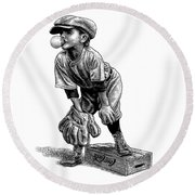 Round Beach Towel featuring the drawing Little Leaguer by Clint Hansen