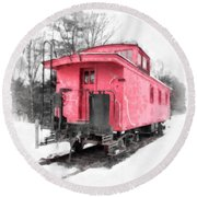 Little Red Caboose Watercolor Round Beach Towel