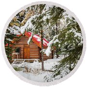 Little Red Riding Hood Cabin Round Beach Towel