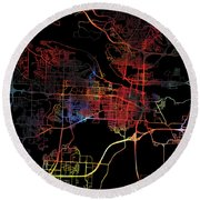 Little Rock Arkansas Watercolor City Street Map Dark Mode Round Beach Towel