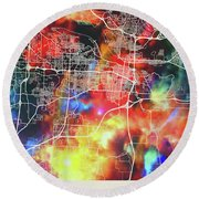 Little Rock Arkansas Watercolor City Street Map Round Beach Towel