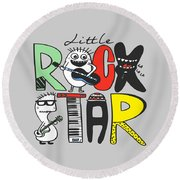 Little Rock Star - Baby Room Nursery Art Poster Print Round Beach Towel