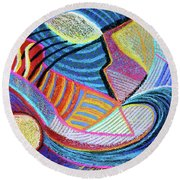 Live In The Present Round Beach Towel