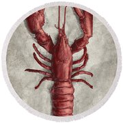 Round Beach Towel featuring the drawing Lobster by Clint Hansen