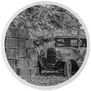 Lobster Pots And Truck Round Beach Towel