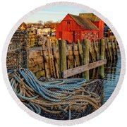 Lobster Traps And Line At Motif #1 Round Beach Towel