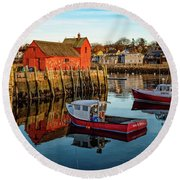 Lobster Traps, Lobster Boats, And Motif #1 Round Beach Towel
