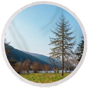 Loch And Mountains Round Beach Towel