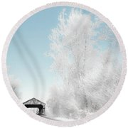 Round Beach Towel featuring the photograph Lockport Covered Bridge 2 by Michael Arend