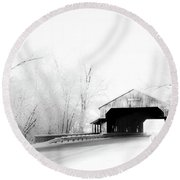 Round Beach Towel featuring the photograph Lockport Covered Bridge by Michael Arend
