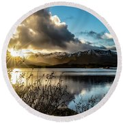 Lofoten Sunset Round Beach Towel