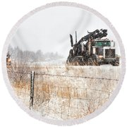 Logging Truck Round Beach Towel