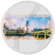 London, Big Ben Round Beach Towel
