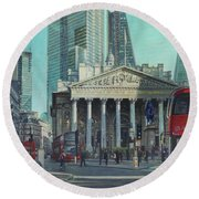London City Bank Area In Sunny Autumn Round Beach Towel