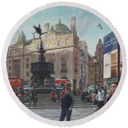 London Piccadilly Circus With Evening Light Round Beach Towel