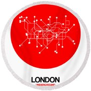 London Red Subway Map Round Beach Towel