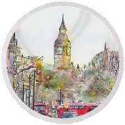 London Street 4 Round Beach Towel
