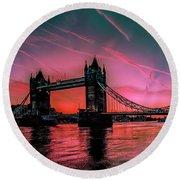 London Tower Bridge Sunrise Pano Round Beach Towel
