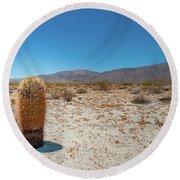 Lone Barrel Cactus Round Beach Towel