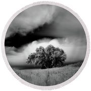 Lone Tree On A Hill Round Beach Towel