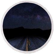 lonely Desert Road on a Starry Desert Night  Round Beach Towel