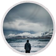 Lonely Seas Round Beach Towel