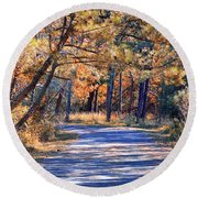 Round Beach Towel featuring the photograph Long And Winding Road At Gordon's Pond by Bill Swartwout Fine Art Photography